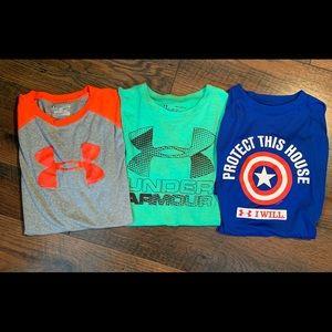 3 Under Armour Youth XL Heat Gear shirts